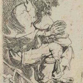 Rembrandt van Rijn-A Beggar Seated Warming His Hands At A Chafing Dish-1630