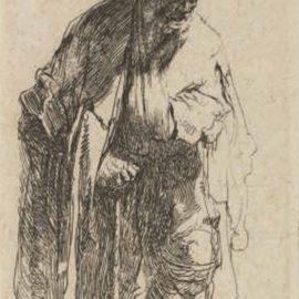 Rembrandt van Rijn-Beggar With A Wooden Leg; A Beggar Woman leaning on a Stick (B. 170; New Holl. 229)-1630
