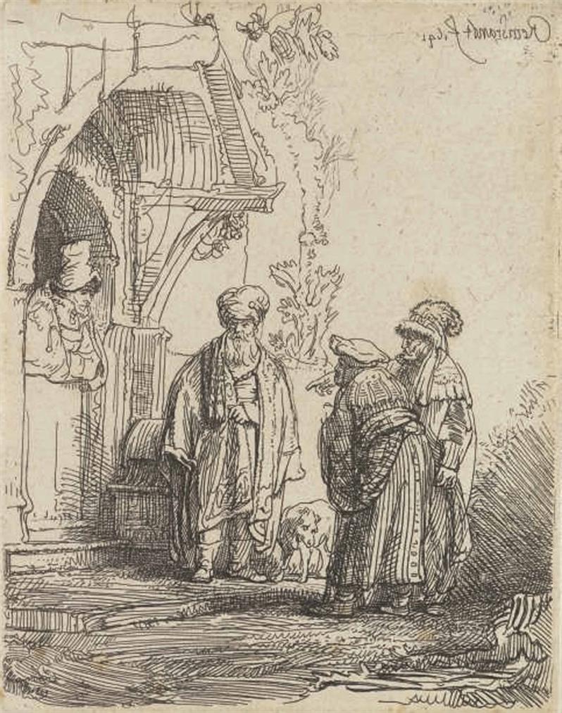 Rembrandt van Rijn-Three Oriental Figures (Jacob And Laban?); Abraham caressing Benjamin (B. 33; New Holl. 165)-1641