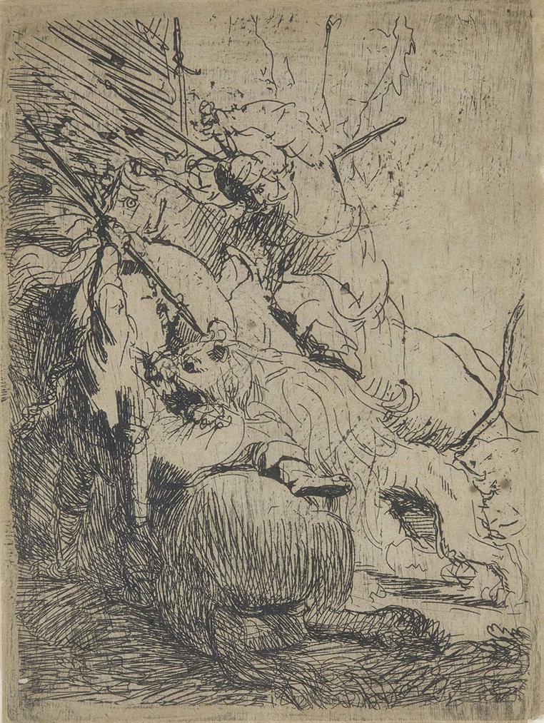 Rembrandt van Rijn-The Small Lion Hunt (With One Lion)-1629
