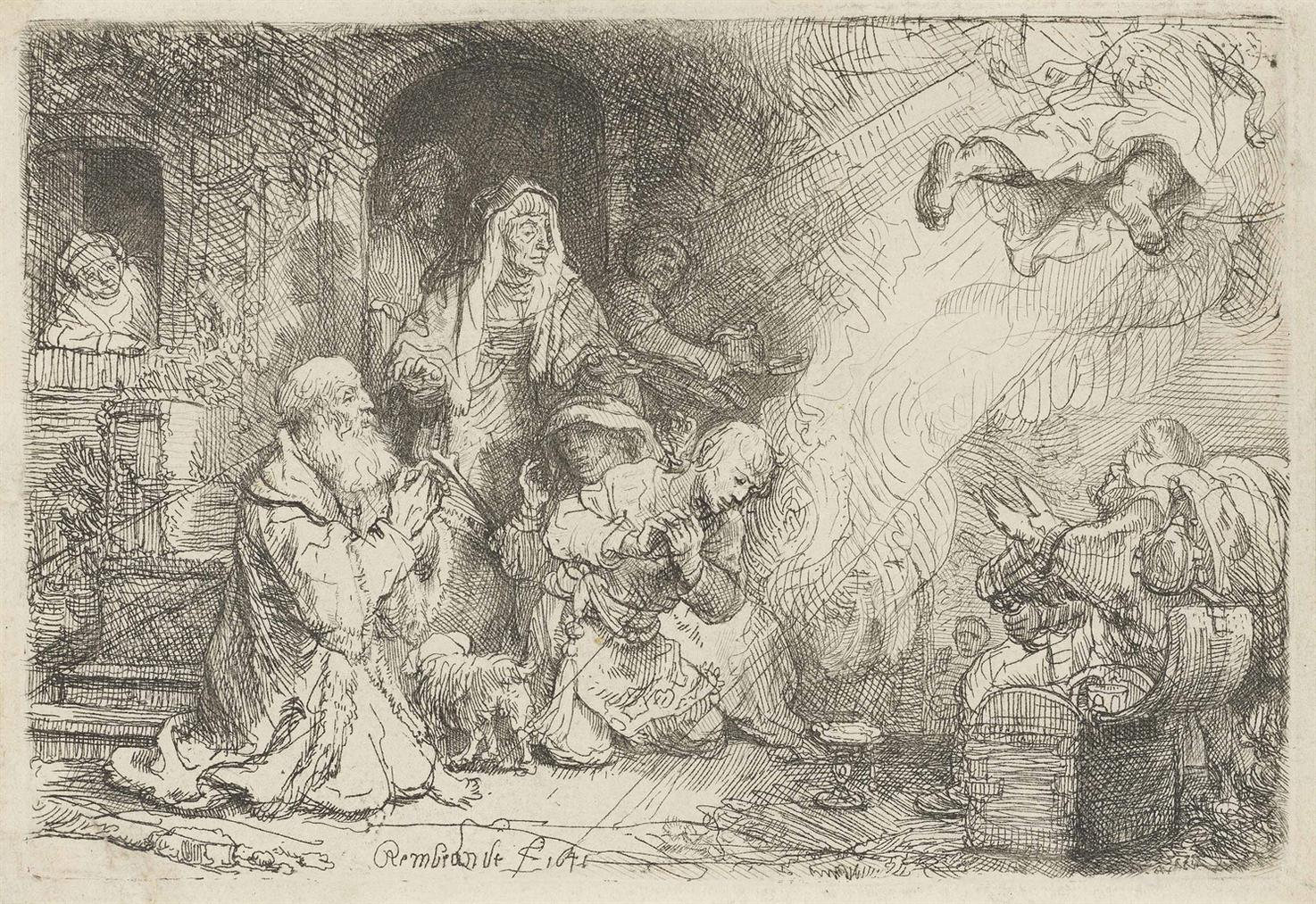 Rembrandt van Rijn-The Angel Departing From The Family Of Tobias-1641