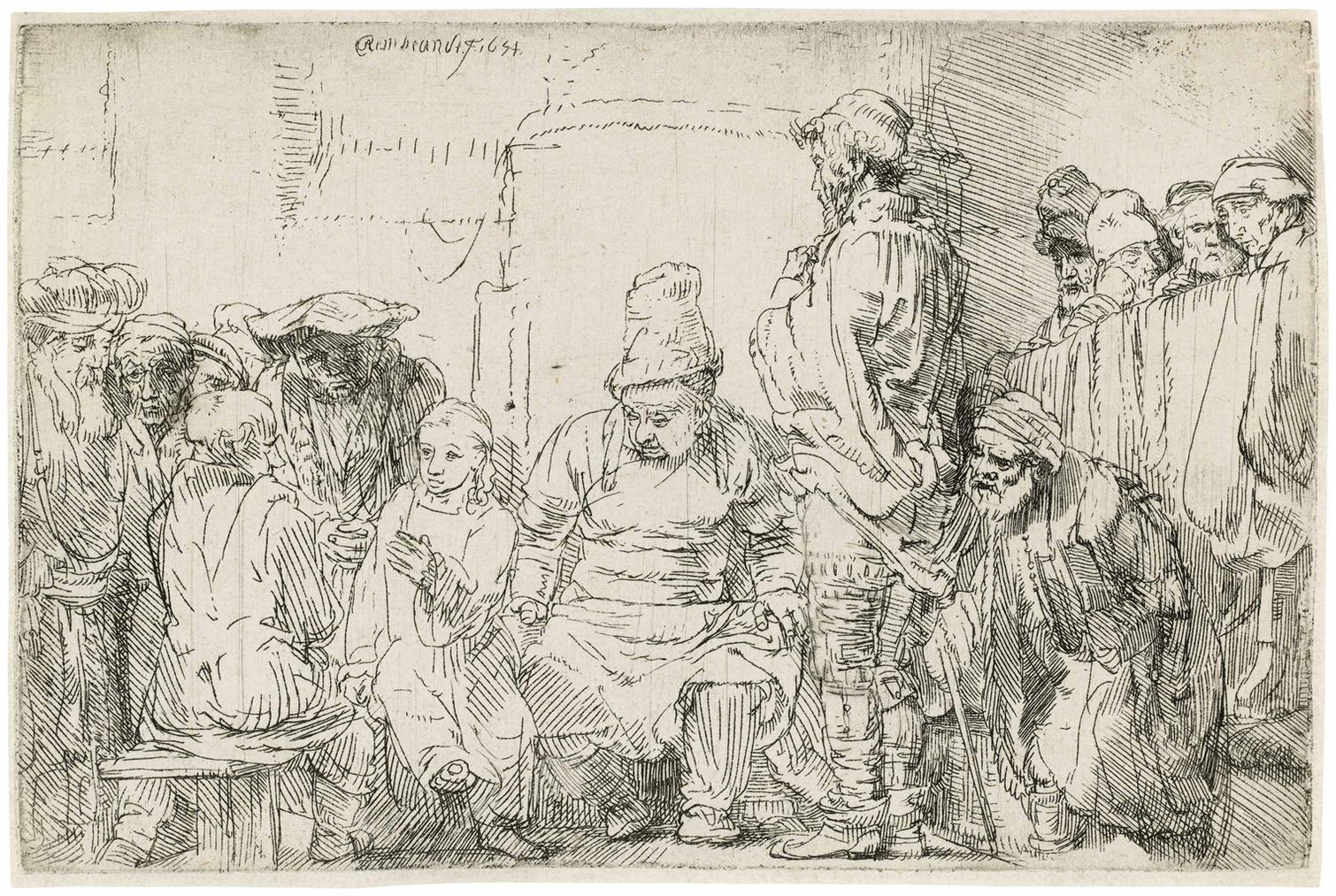 Rembrandt van Rijn-Christ Seated Disputing With The Doctors-1654