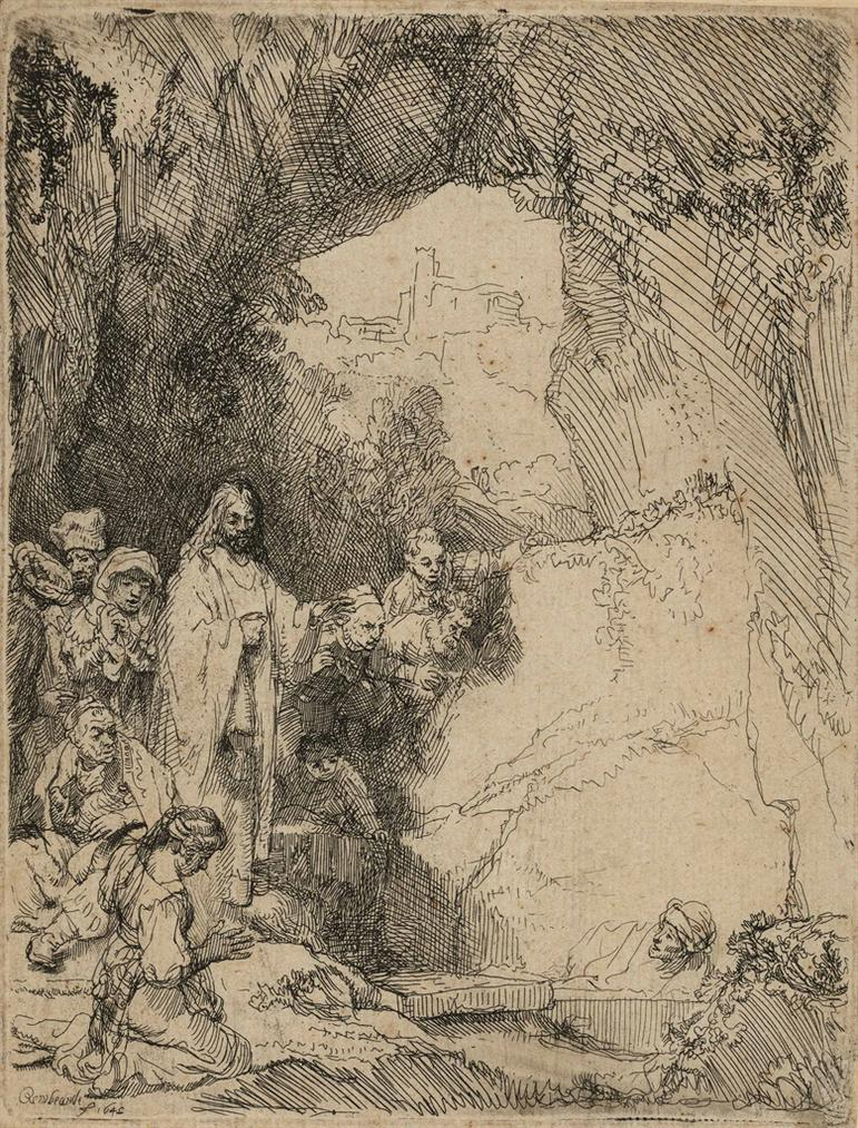 Rembrandt van Rijn-The Raising Of Lazarus: Small Plate-1642