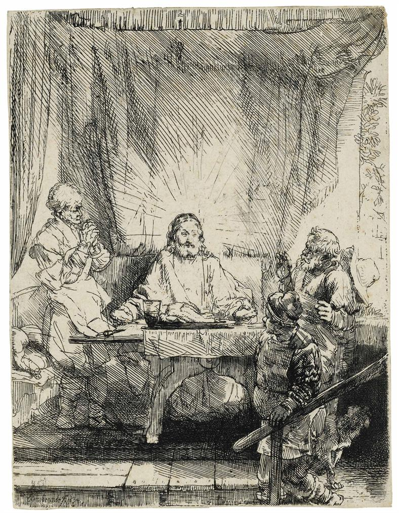 Rembrandt van Rijn-Christ At Emmaus: The Larger Plate-1654