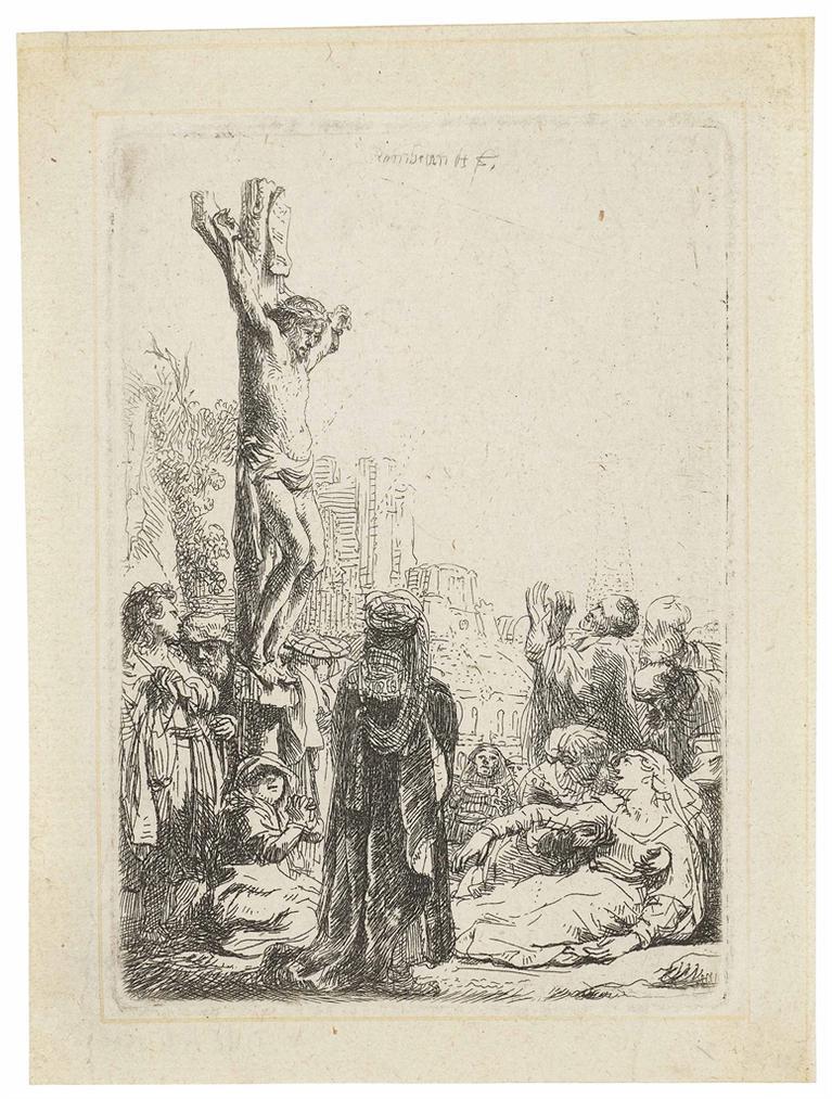 Rembrandt van Rijn-The Crucifixion: Small Plate-1635