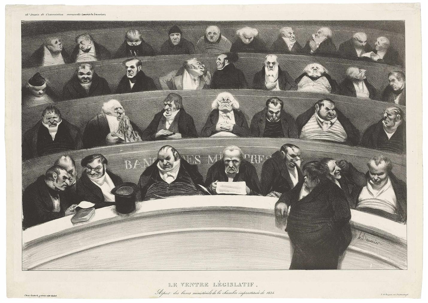 Honore Daumier-Le Ventre Legislatif, From: Lassociation Mensuelle; Le Procureur-General Plougoulm (deuxieme planche)-1834