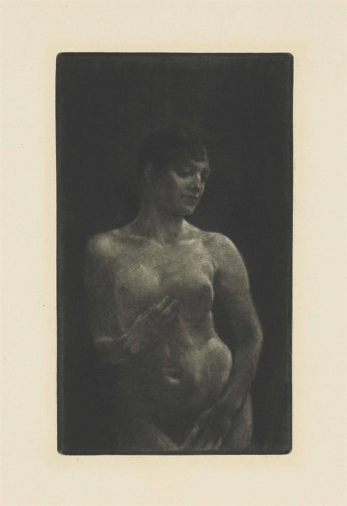 Max Klinger-Weiblicher Akt In Schabkunst; Gefesselt (Chained), plate 11, from: A Life - Opus VIII-1891