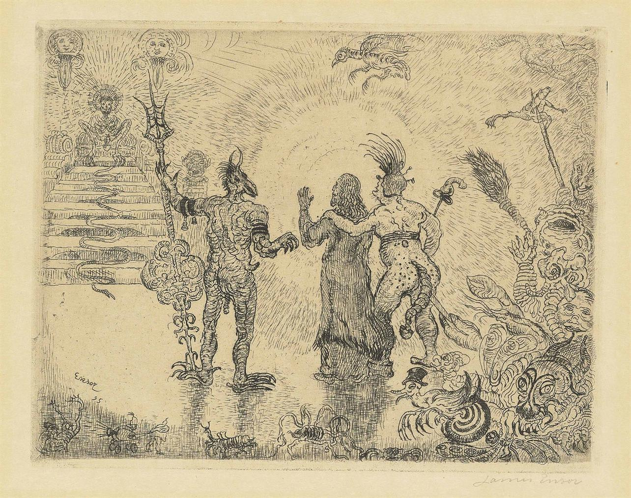 James Ensor-Les Diables Dzitts Et Hihanox Conduisant Le Christ Aux Enfers (The Devils Dzitts And Hihanox Leading Christ To Hell)-1895
