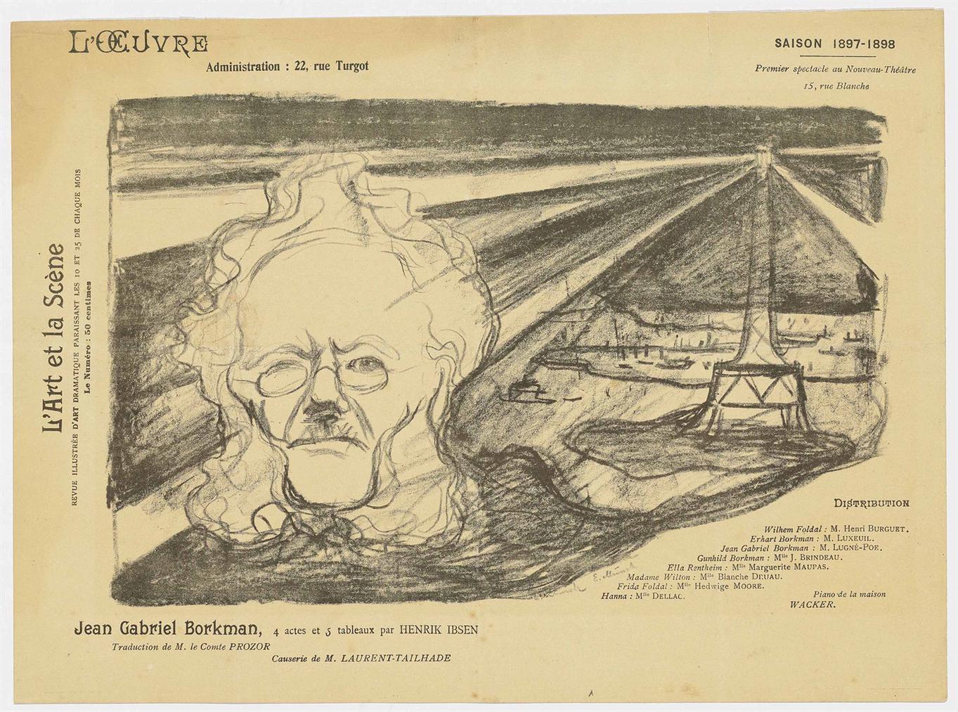 Edvard Munch-Theatre Programme: John Gabriel Borkman-1897