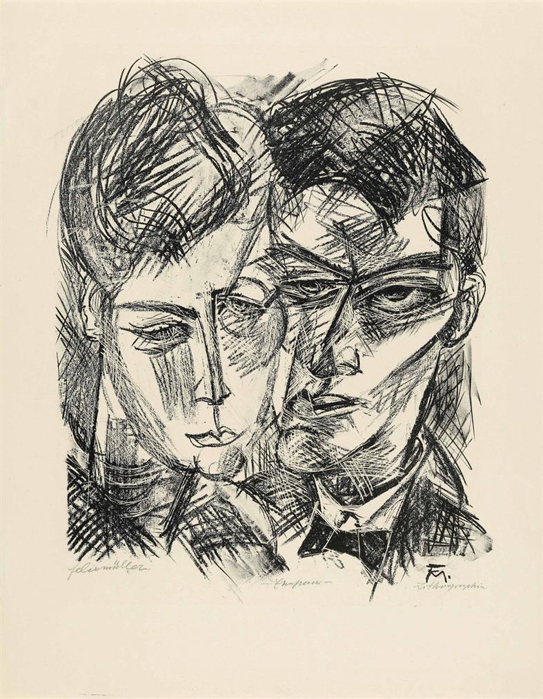 Conrad Felixmuller-Ehepaar (Wir - Zum 14. Mai 1918/ Selbstbildnis Mit Frau)-1918