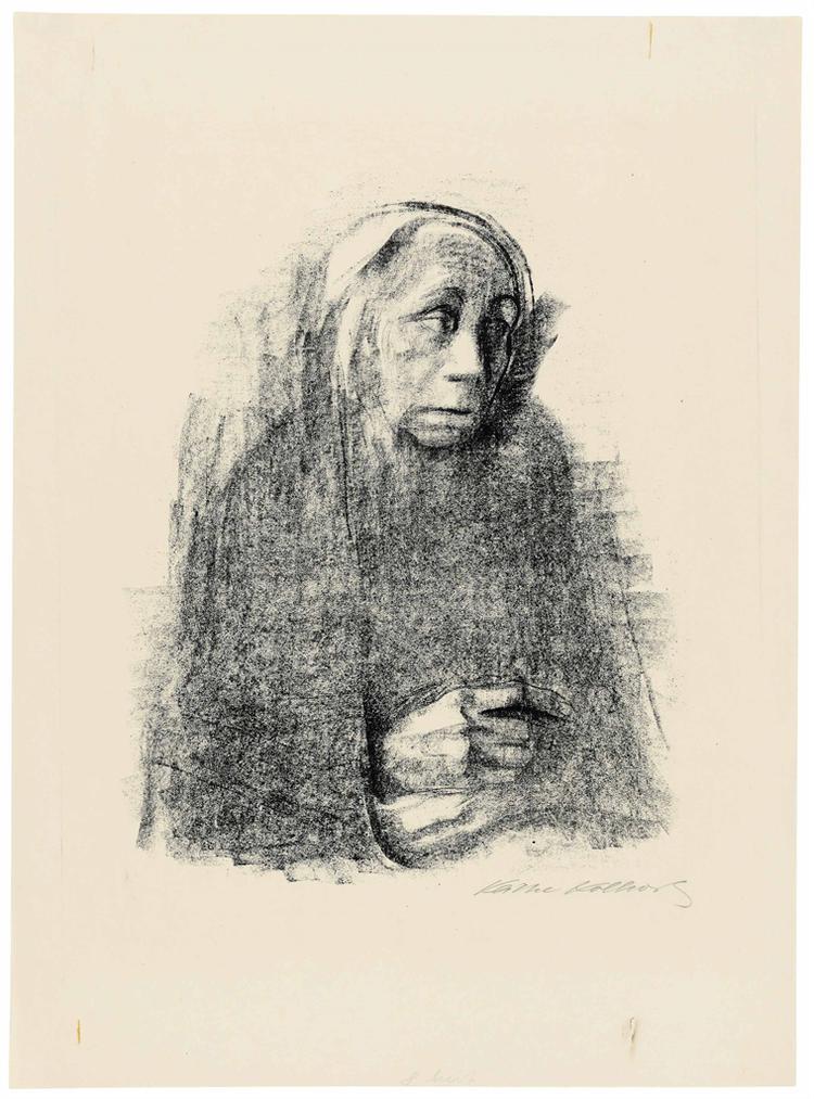 Kathe Kollwitz-Sitzende Frau Mit Umschlagtuch (Seated Woman With Shawl)-1924