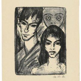 Otto Mueller-Selbstbildnis Mit Modell Und Maske-1922