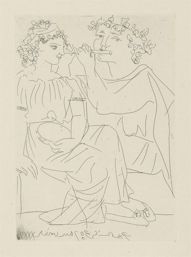 Pablo Picasso-Flutiste Et Jeune Fille Au Tambourin, From: La Suite Vollard-1934