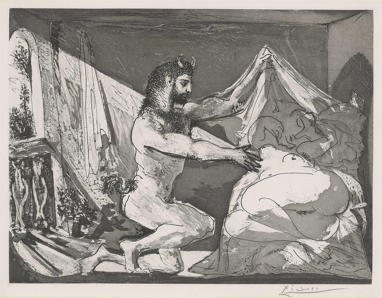 Pablo Picasso-Faune Devoilant Une Femme, From: La Suite Vollard-1936