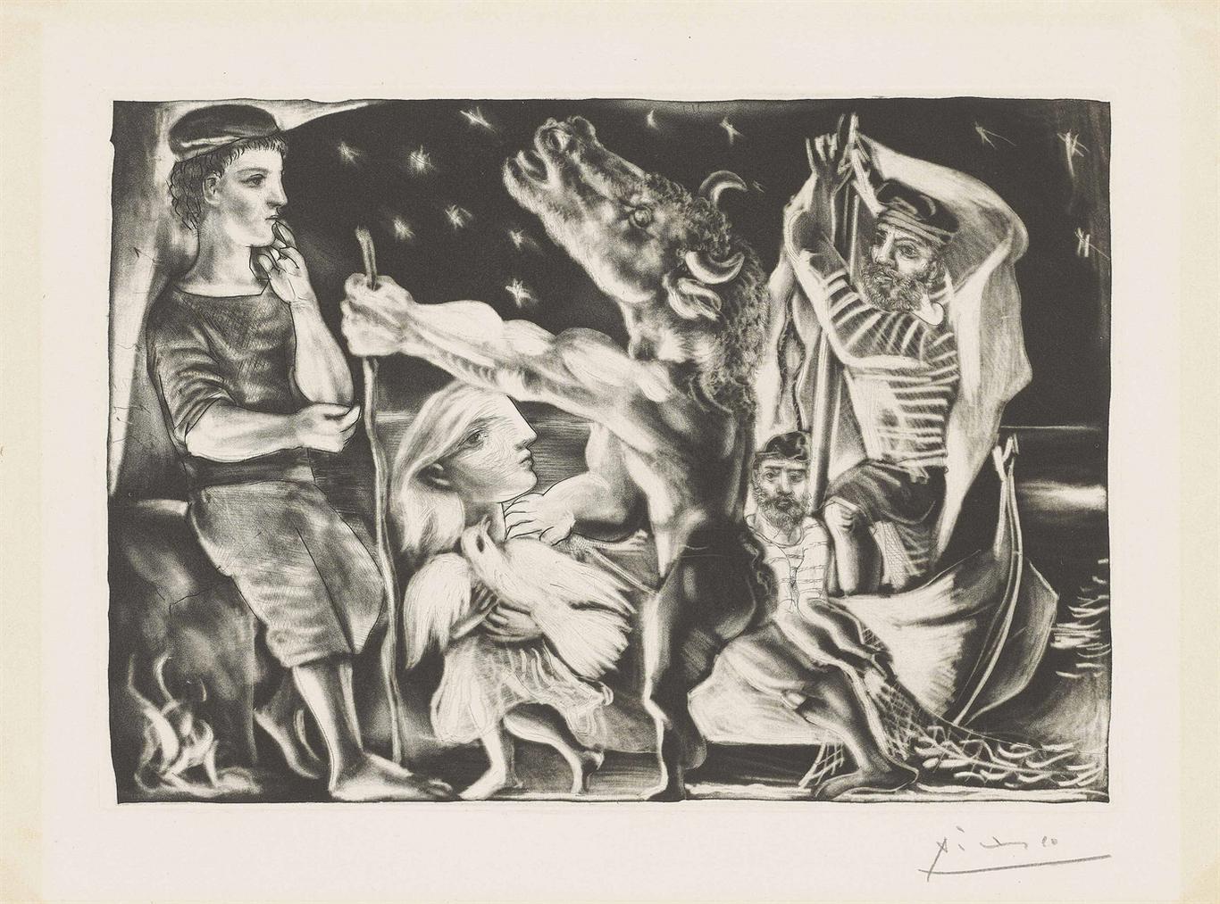 Pablo Picasso-Minotaure Aveugle Guide Par Une Fillette Dans La Nuit, From: La Suite Vollard-1934