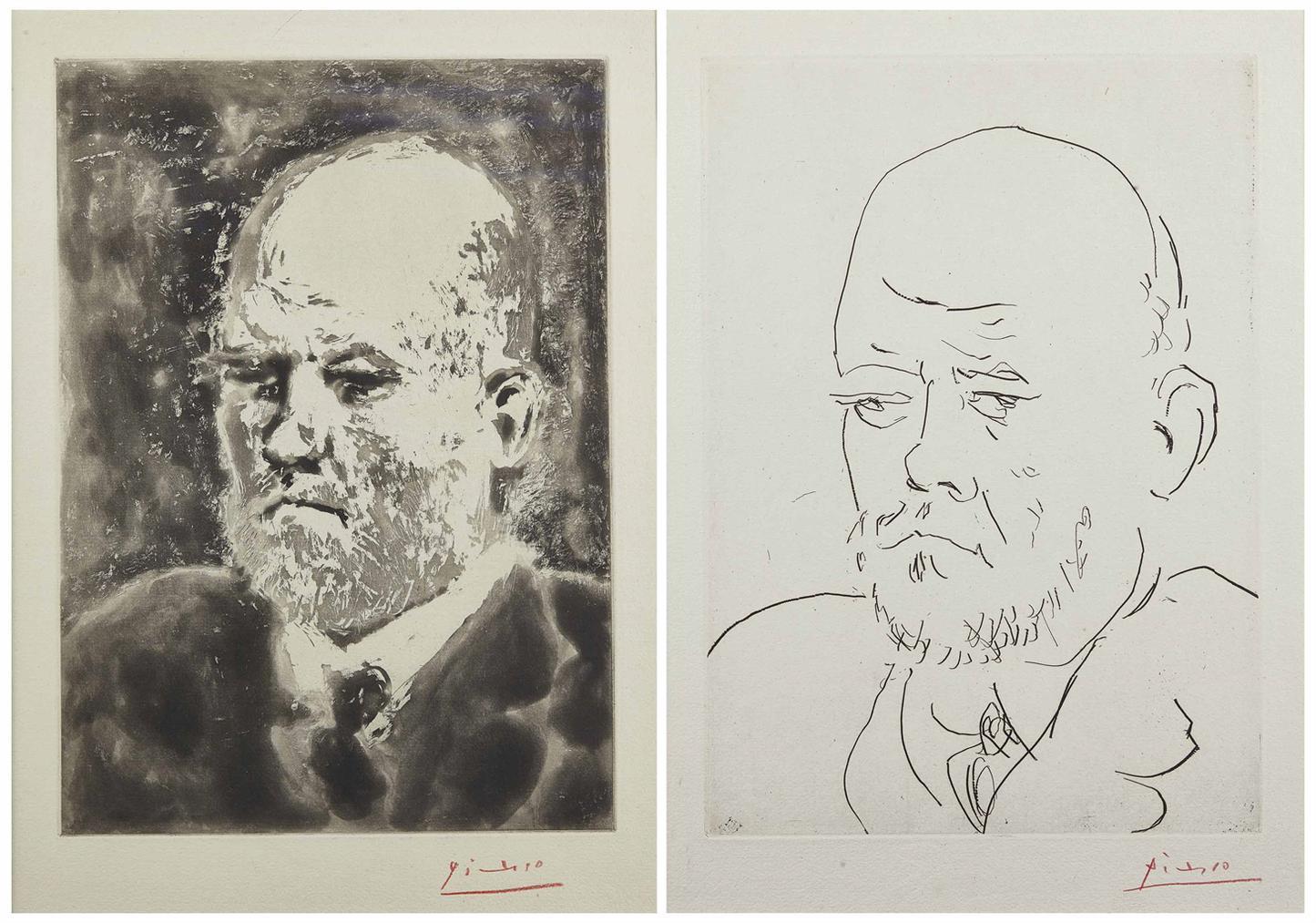 Pablo Picasso-Portrait De Vollard I & Iii, From: La Suite Vollard-1937