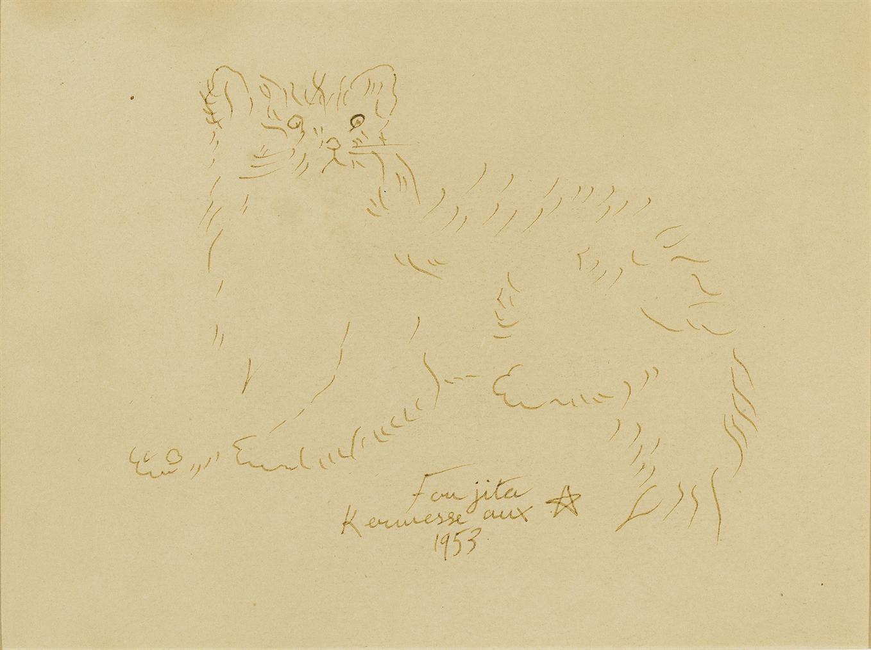Tsuguharu Foujita-Cat-1953