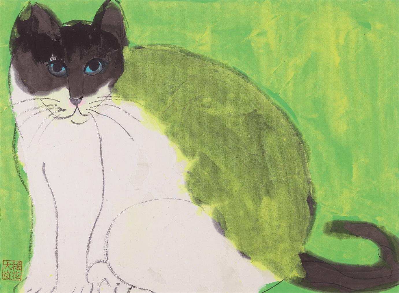 Walasse Ting-A Green Cat-