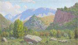 Jan Ernst Abraham Volschenk - Two Landscapes: 1. Kloof en Berg (Vette River Valley), Riversdale; 2. In the Gorge of Garcia's Pass, riversdale-1923