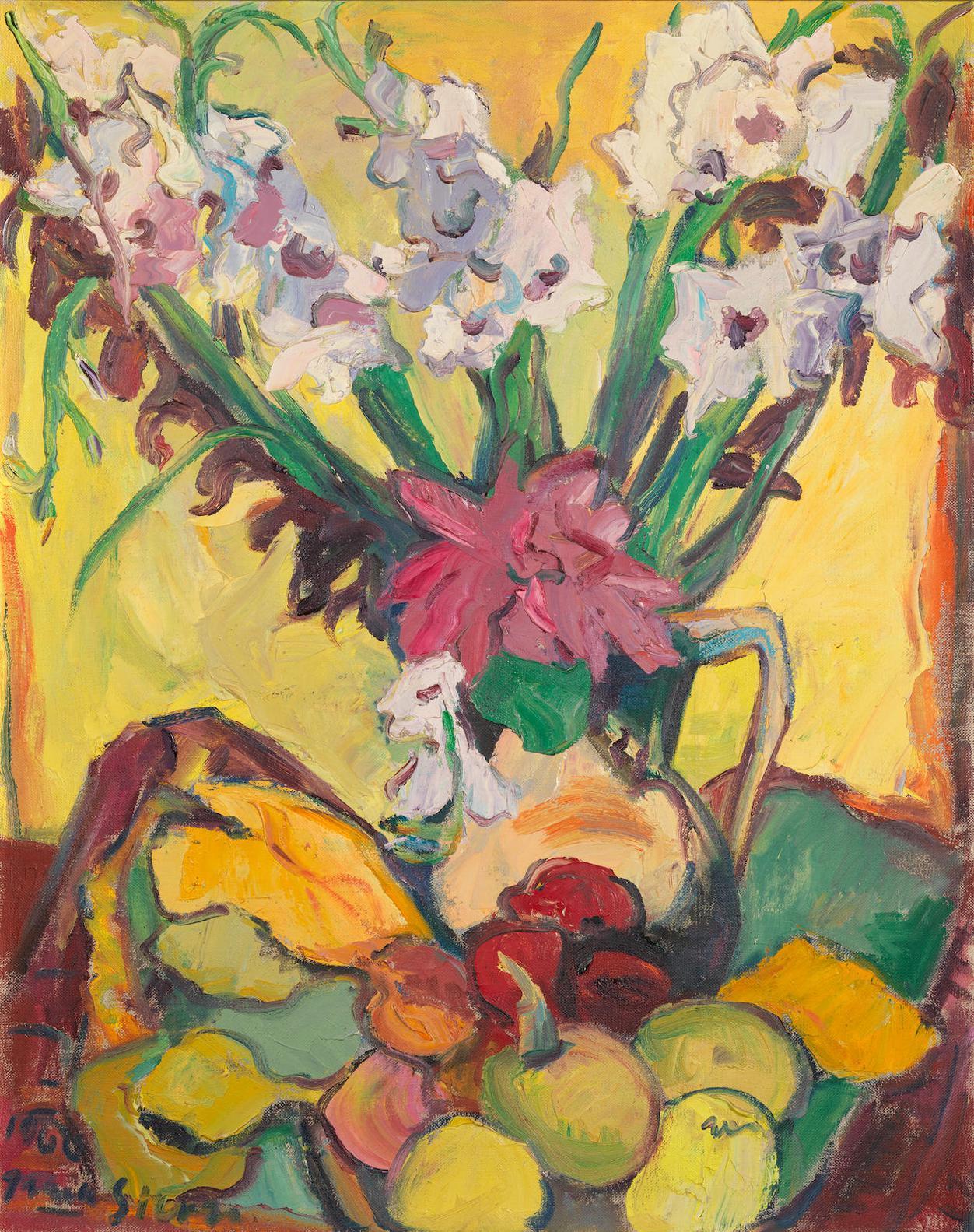 Irma Stern-Still Life Of Gladioli And Fruit-1960