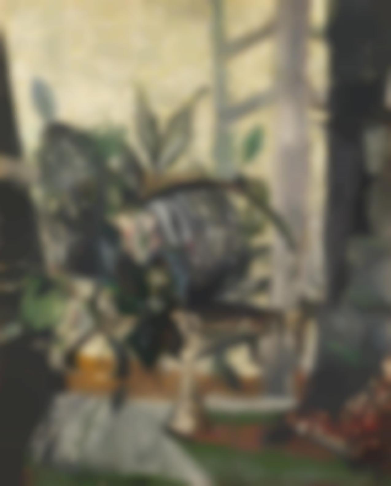 Christo Coetzee-Floral Arrangement Before An Open Window-