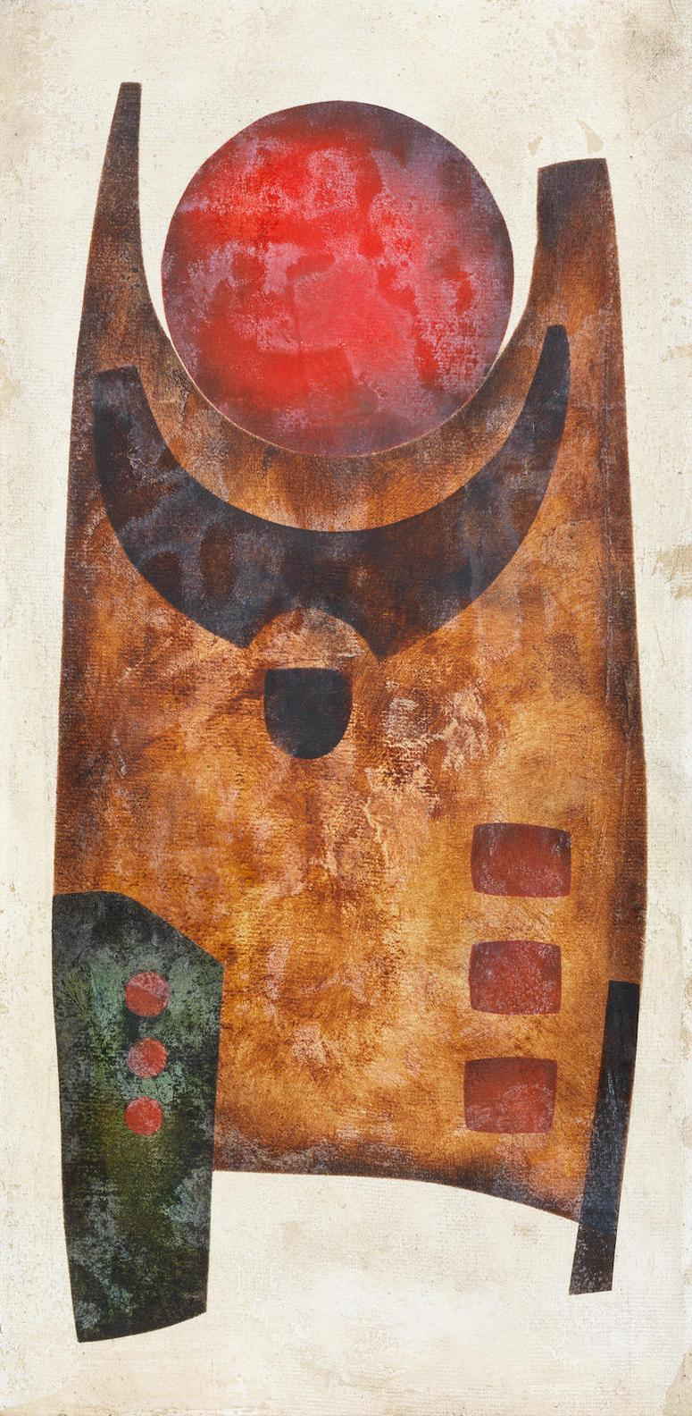 Hannes Harrs - Three Works: (i) Abstract with red circle; (ii) Cubist abstract in brown; (iii) Abstract with interlocking forms-1972