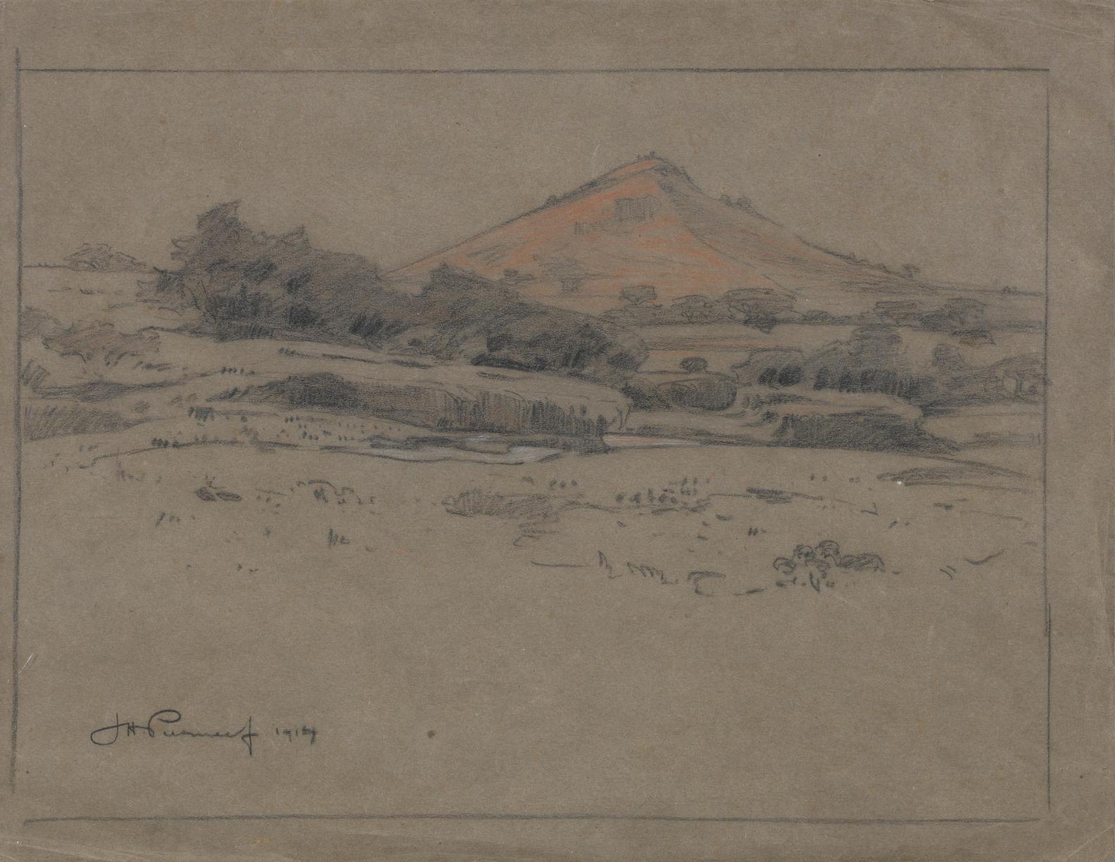 Jacob Hendrik Pierneef - Two Drawings: Mountain View And Tree Studies-1914