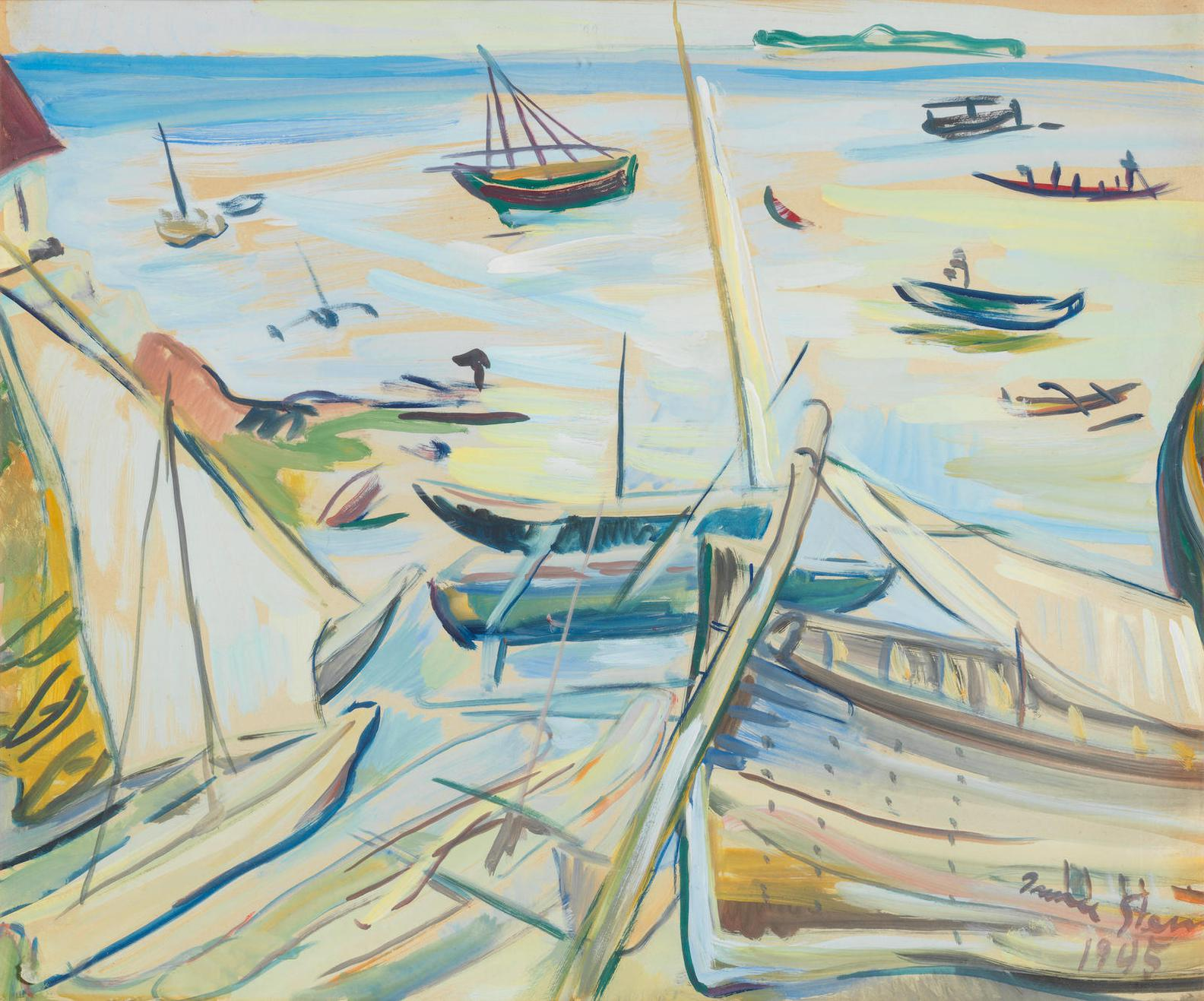Irma Stern-Harbour Scene With Robben Island In The Distance-1945