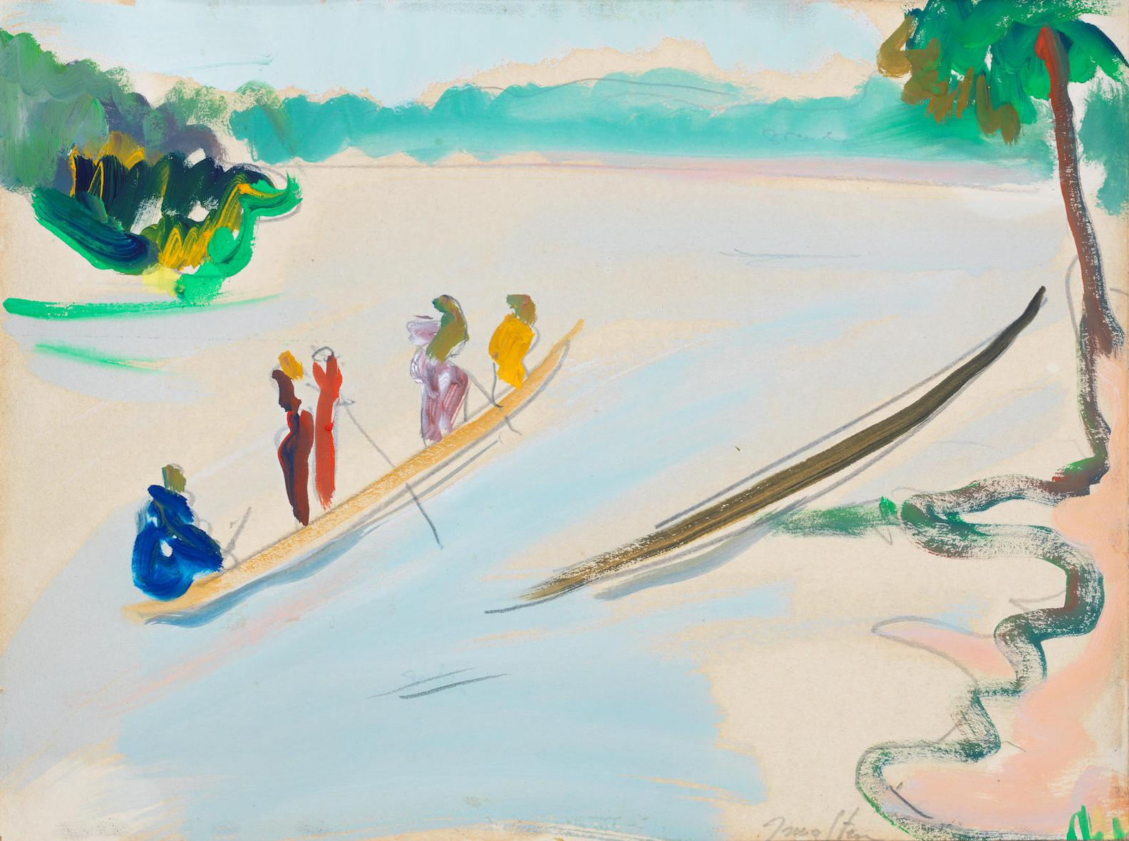 Irma Stern-Canoes On The Congo-