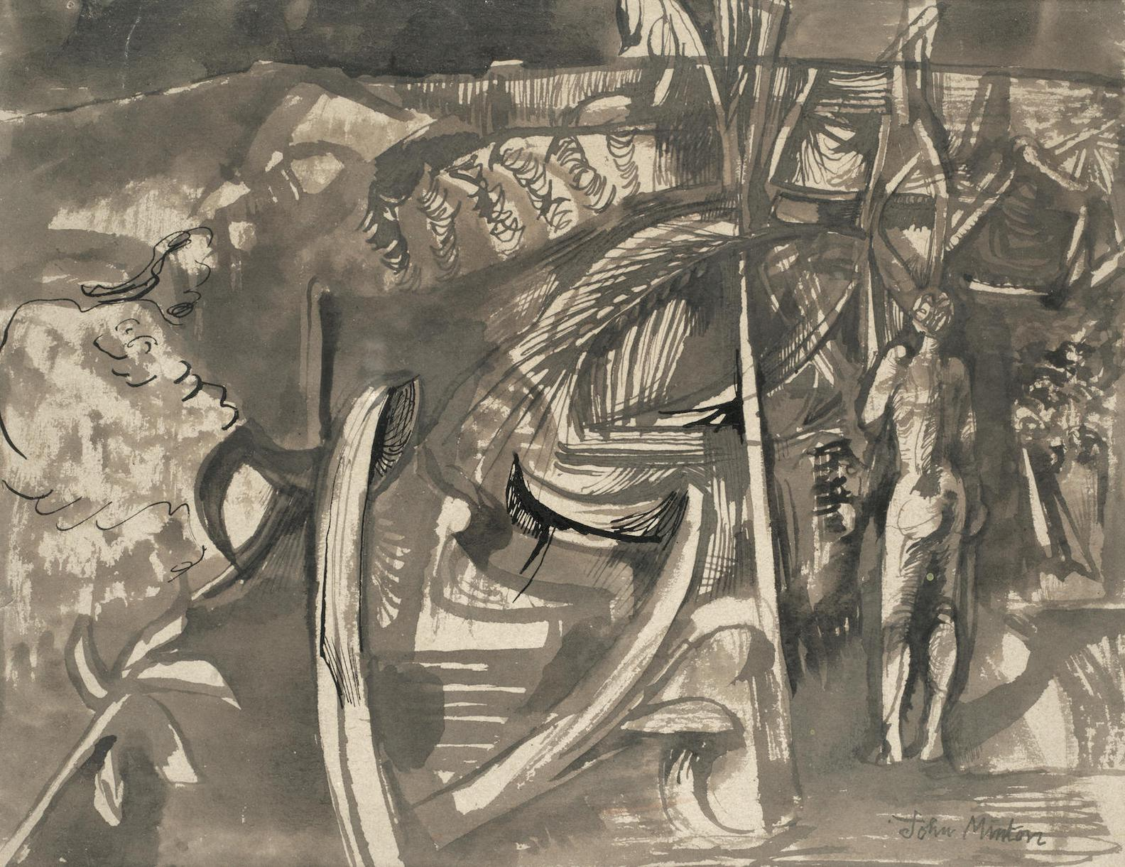 John Minton - Jamaican Forest With Standing Female Figure-