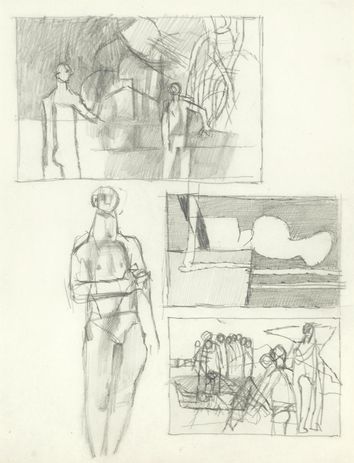 Keith Vaughan - Page Of Studies-1949