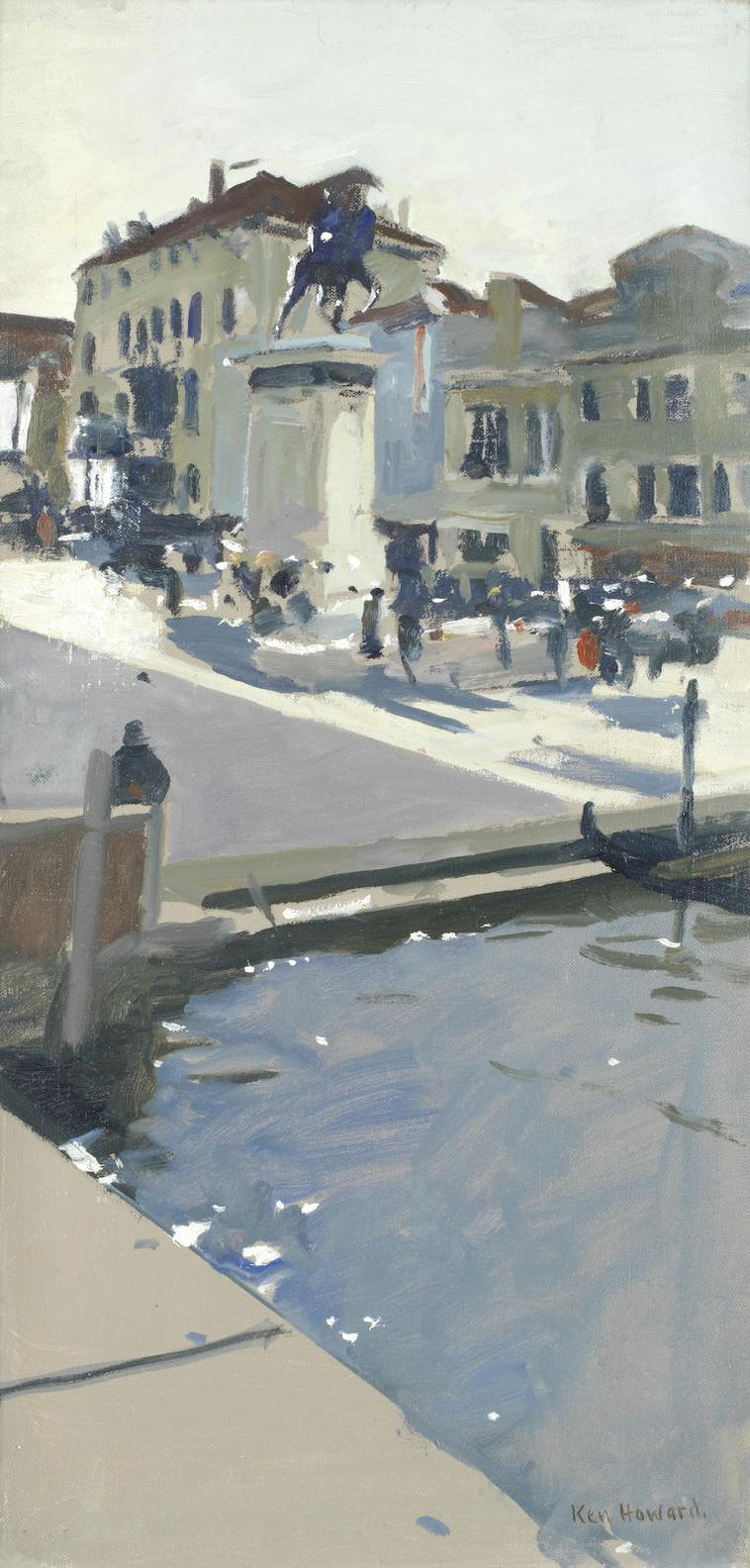 Ken Howard - Piazza Near The Canal, Venice-