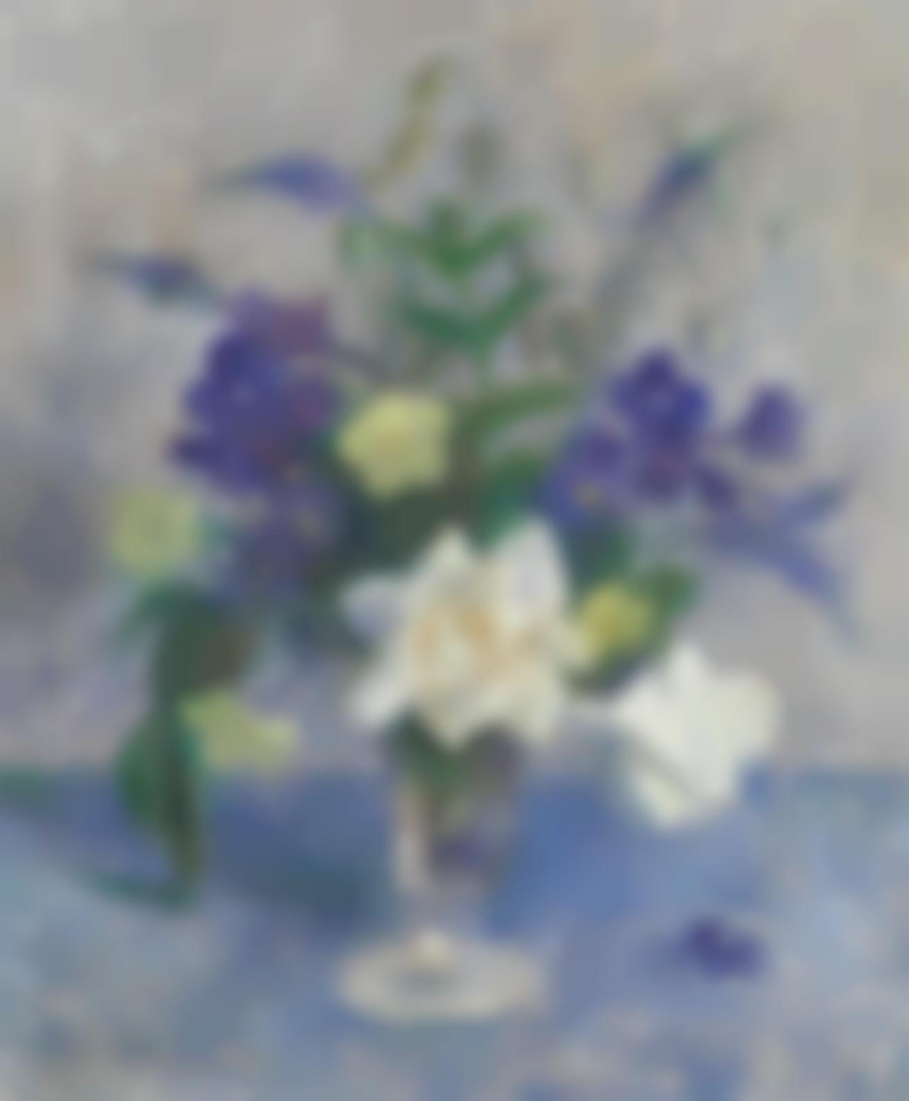 Dod Procter - Still Life With Flowers In A Glass Vase-