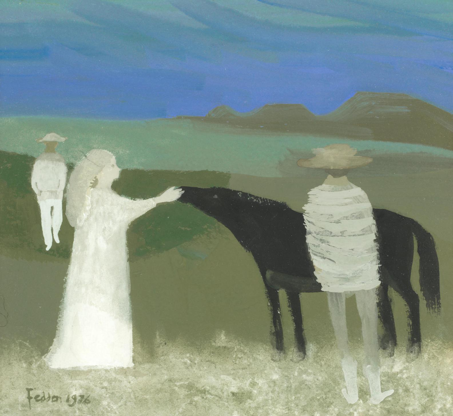 Mary Fedden - Girl, Men And Horse-1976