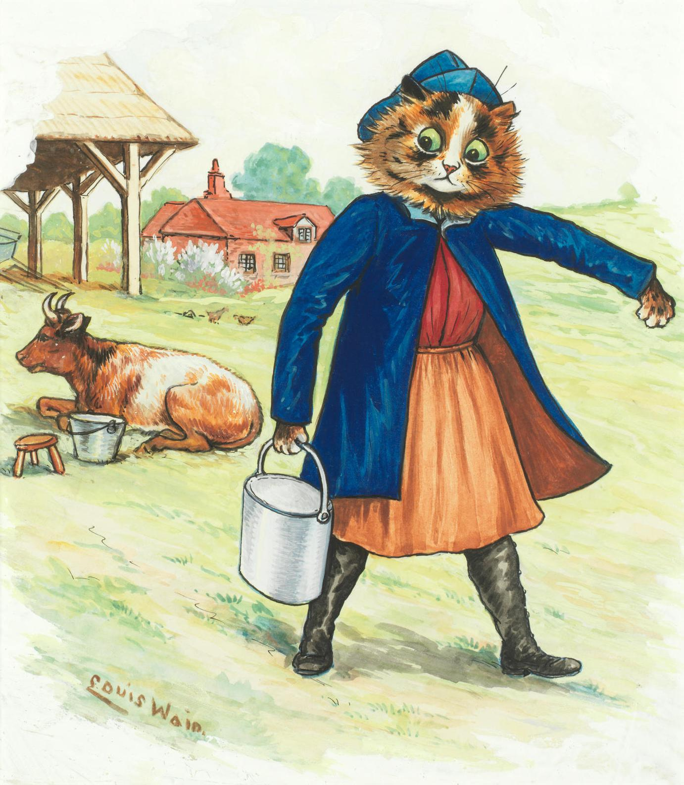 Louis William Wain - Fetching Milk-