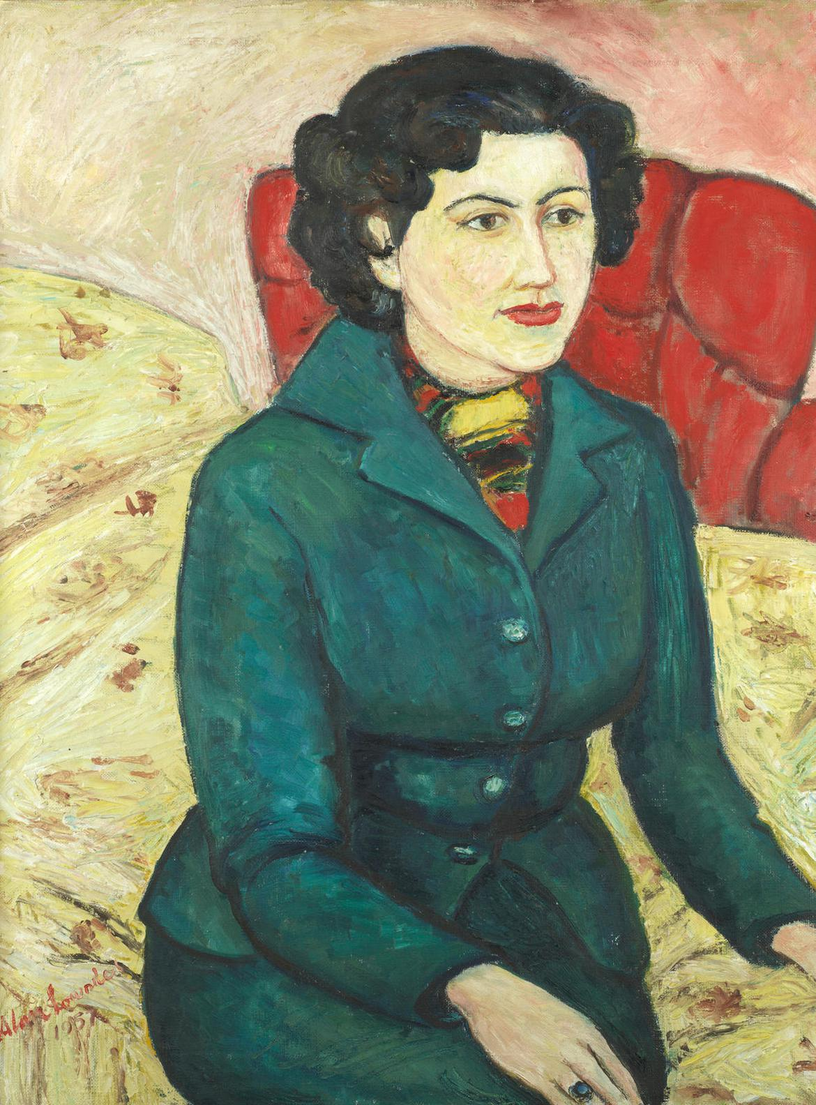Alan Lowndes - Portrait Of A Lady In A Green Coat-1957