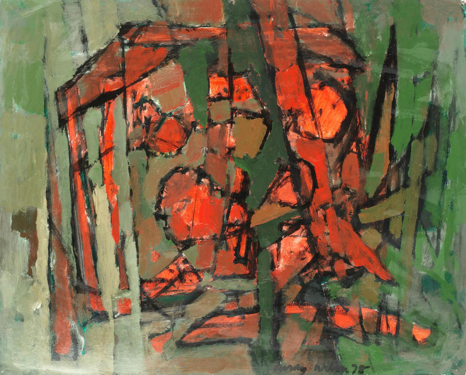Frank Avray Wilson - Red And Green Abstract-1978