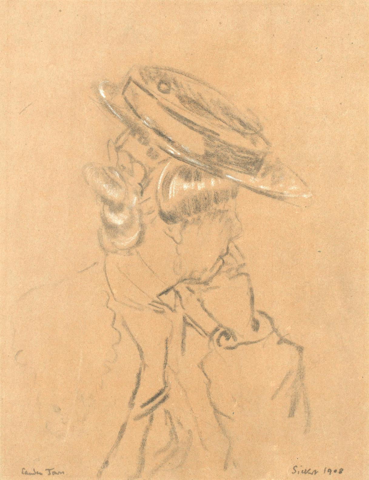 Walter Richard Sickert - Study Of A Girl In A Straw Boater-1908