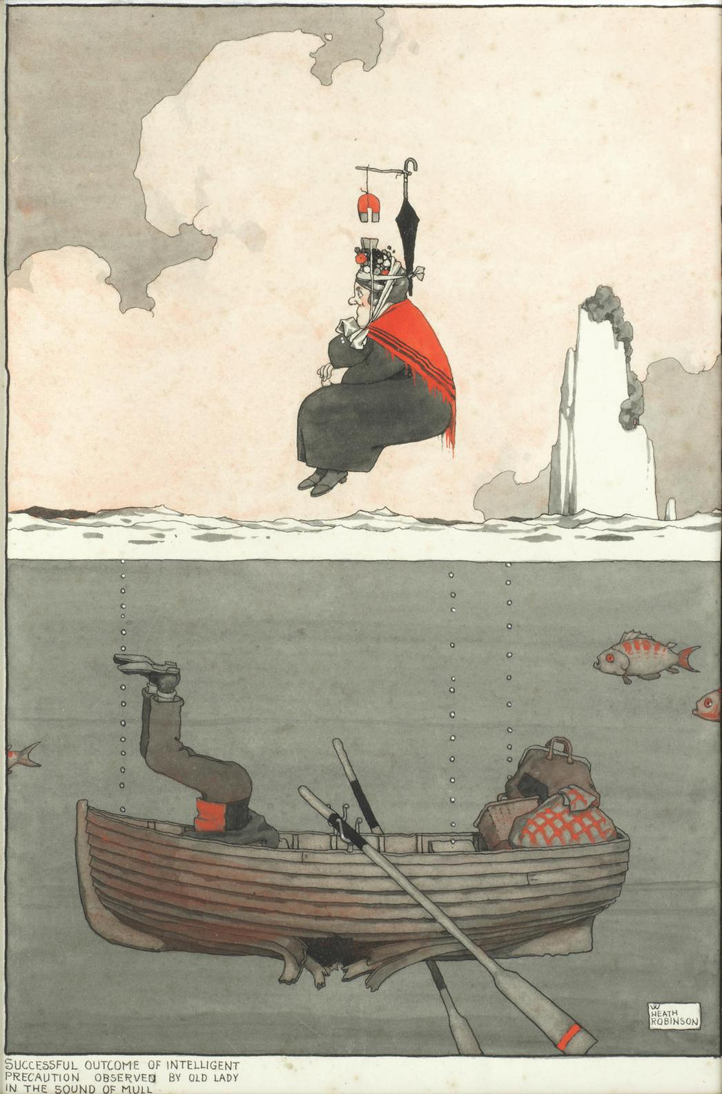 William Heath Robinson - Successful Outcome Of Intelligent Precaution Observed By Old Lady In The Sound Of Mull-