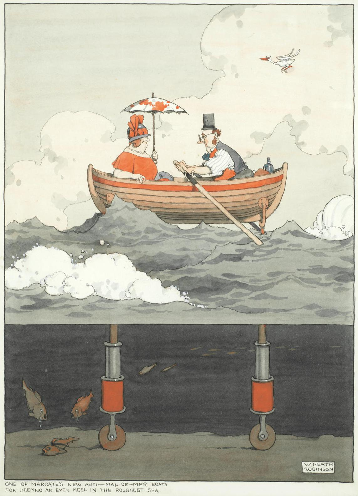 William Heath Robinson - One Of Margates New Anti-Mal-De-Mer Boats For Keeping An Even Keel In The Roughest Sea-