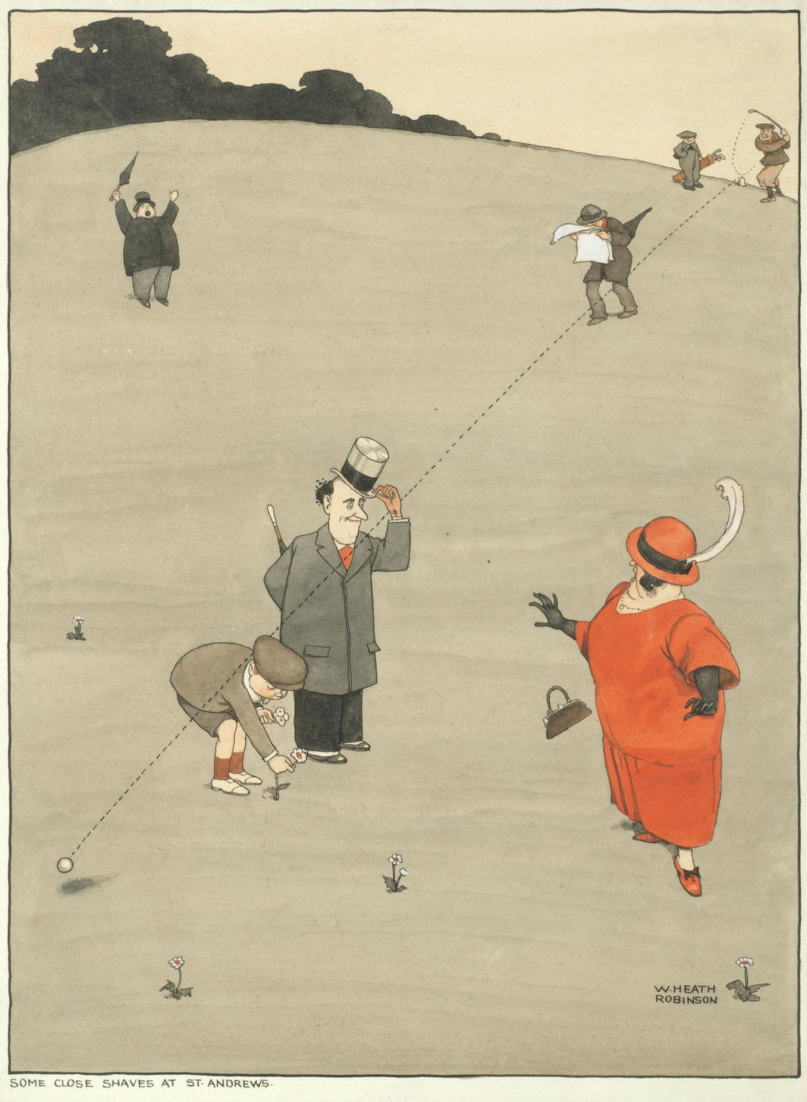 William Heath Robinson - Some Close Shaves At St. Andrews-
