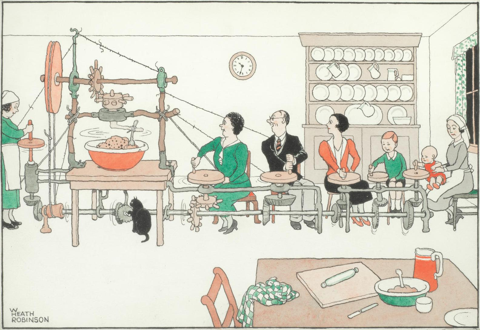 William Heath Robinson - Mechanical Aids For Christmas-Apparatus Enabling The Whole Family-