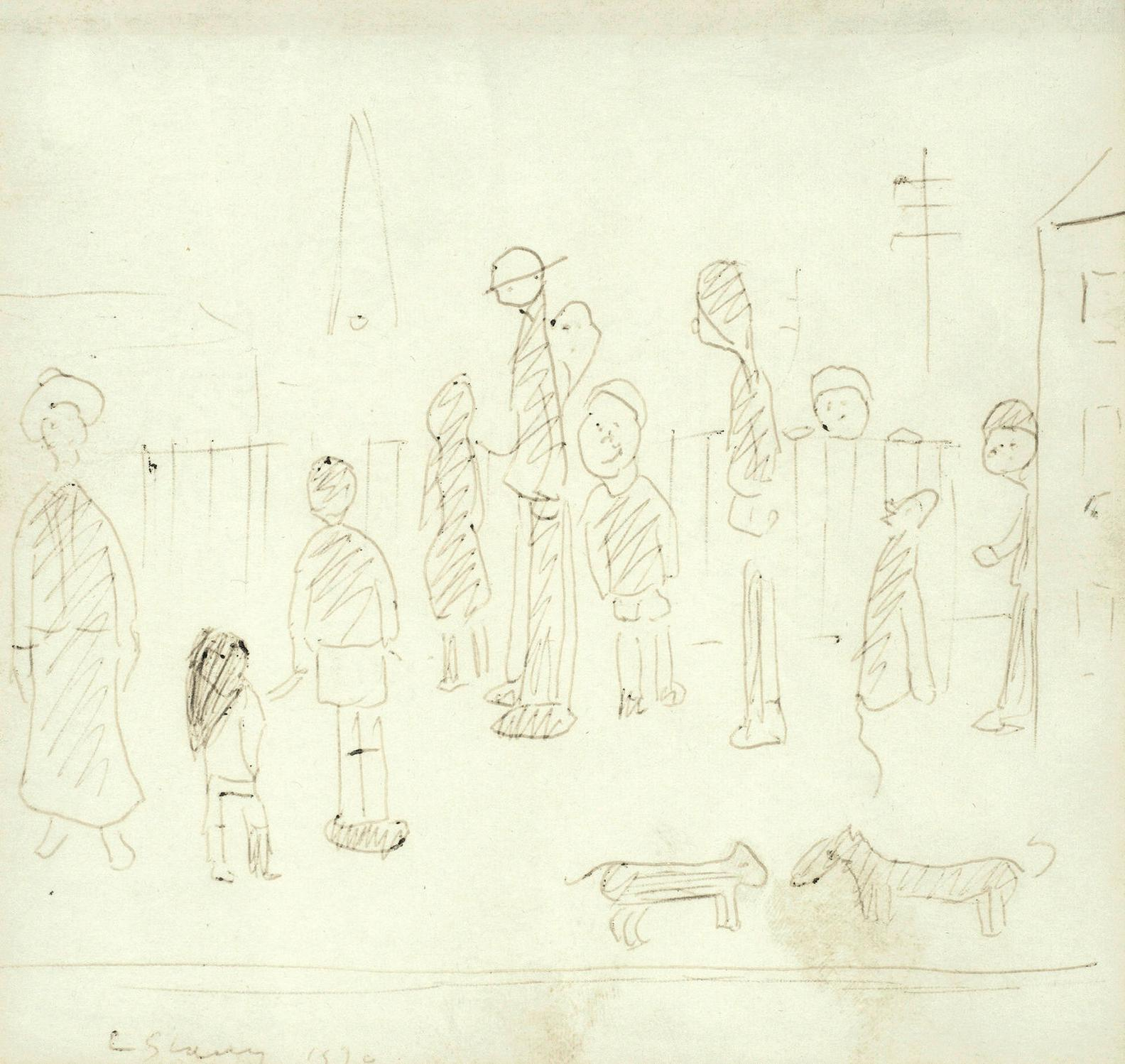 Laurence Stephen Lowry - Standing Figures And Three Dogs-1970