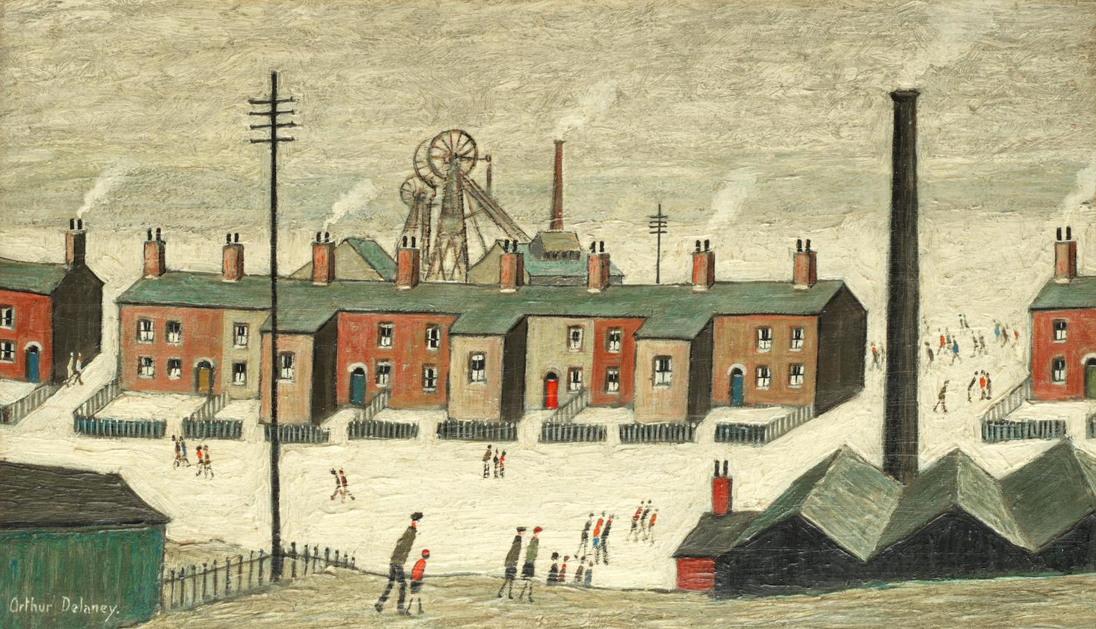 Arthur Delaney - Pit Village With Terraced Houses And Figures-