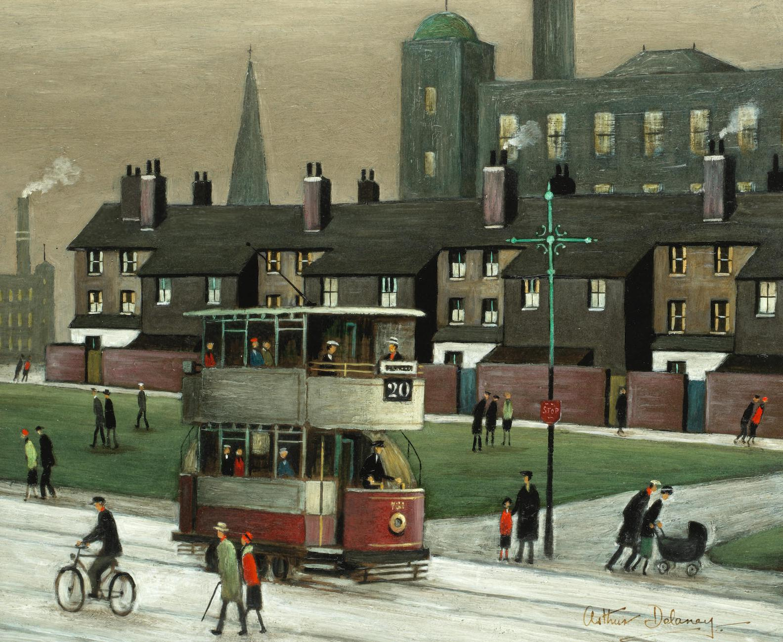 Arthur Delaney - Northern Town Scene With Mills, Tram And Passersby-
