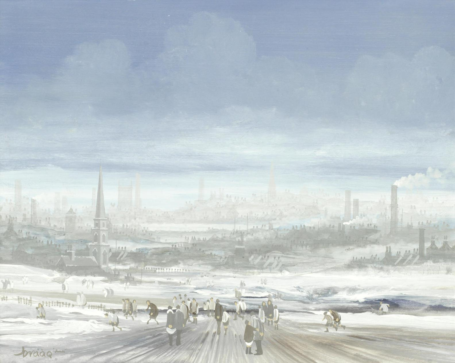 Brian Shields - Snow Covered Landscape With Figures-