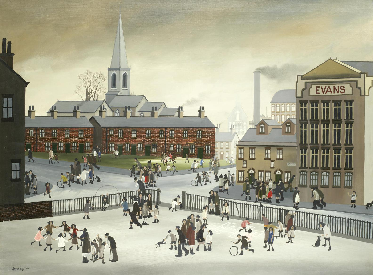 Brian Shields - Town Scene With Childrens Playground-