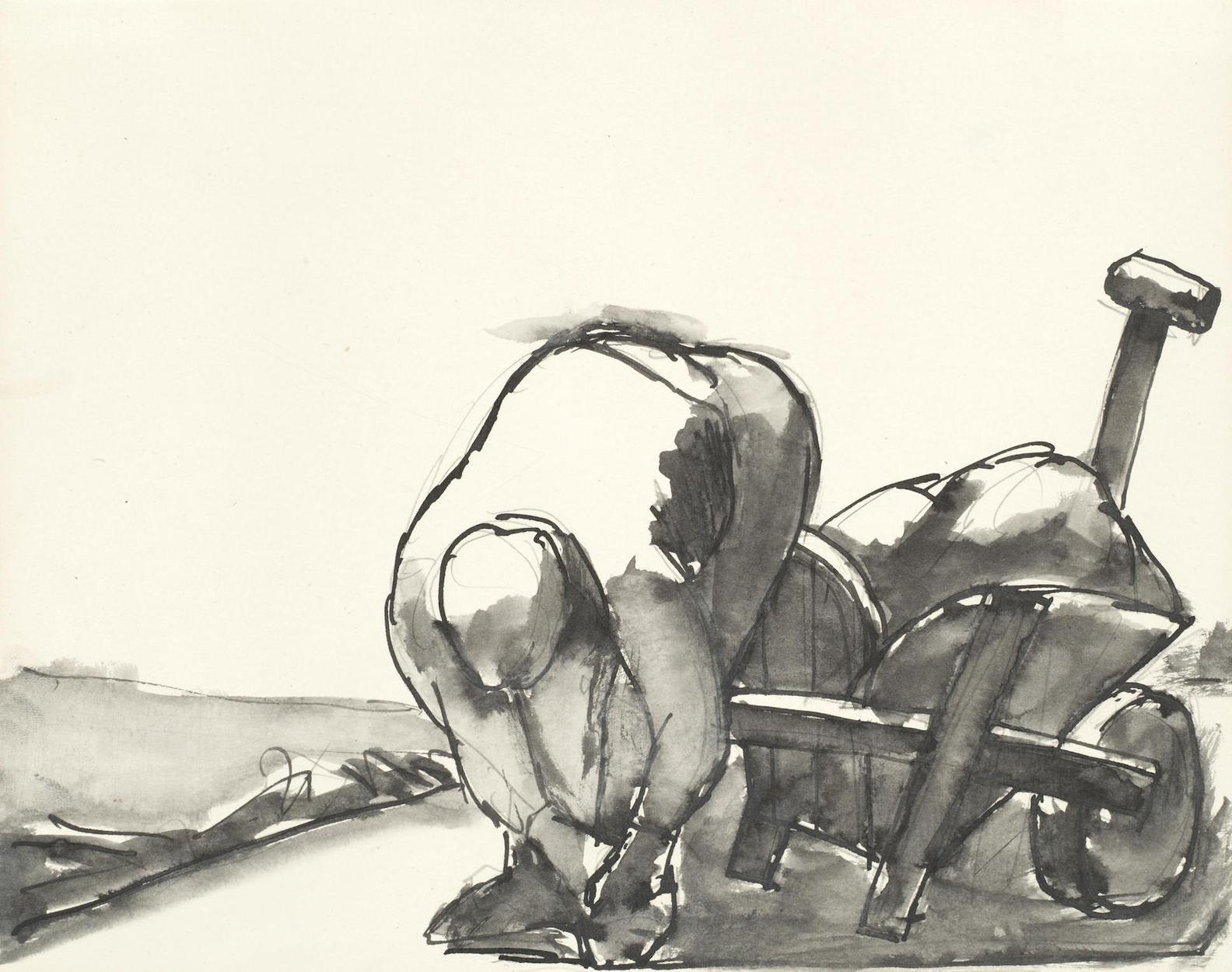 Josef Herman - Man With Wheelbarrow-