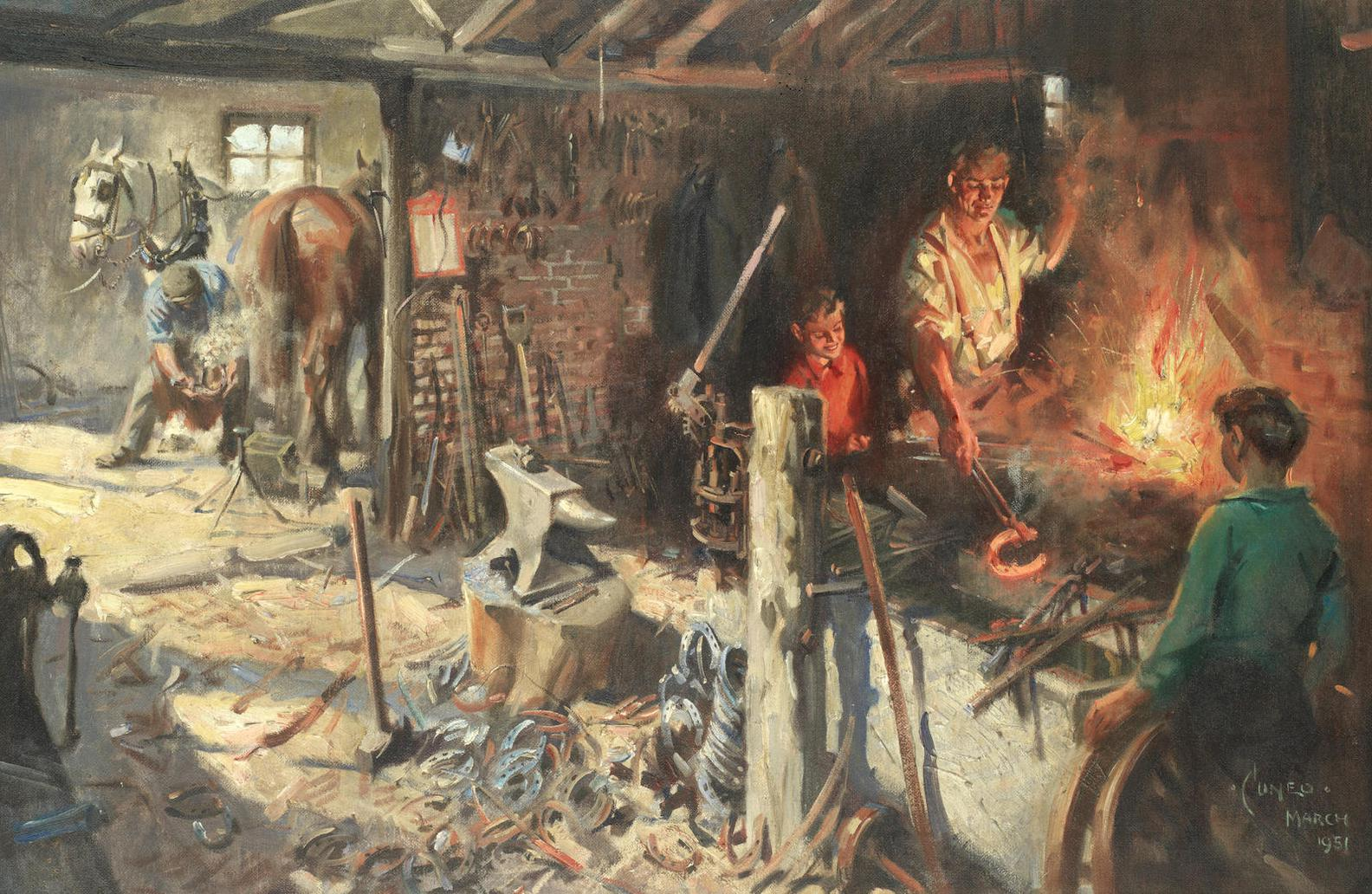 Terence Cuneo - Blacksmiths Forge-1951