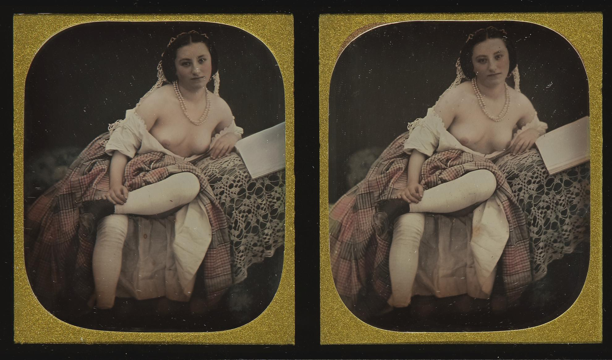 Anonymous French Photographer - Partially Draped Female Nude-1850